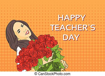 Woman Hold Rose Flower Bouquet Teacher Day Holiday Greeting Card Pop Art Colorful Retro Style