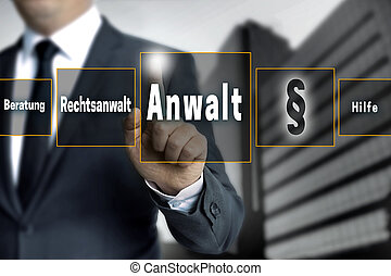 anwalt in german lawyer, attorney, help, advice touchscreen...