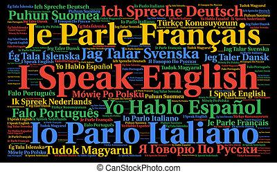 I speak a language word cloud concept