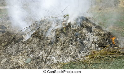 Burning grass foliage heap with heavy dense smoke. Pollution...
