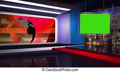 News TV Studio Set -46 - News TV Studio Set 46 - Virtual...