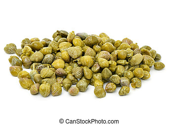 pickled capers - closeup of a pile of pickled capers on a...