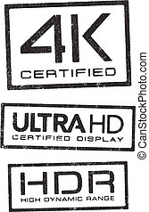 Video technologies certified stamps - Vector illustration of...