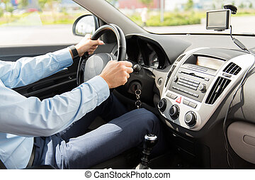 close up of young man driving car - transport, business...