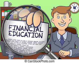 Financial Education through Magnifier. Doodle Concept. -...