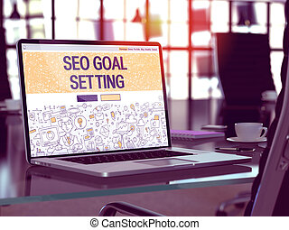 SEO Goal Setting Concept on Laptop Screen - SEO - Search...