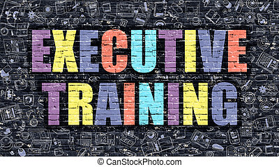 Executive Training Concept with Doodle Design Icons.