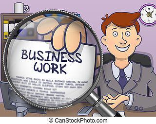 Business Work through Magnifier Doodle Concept - Business...
