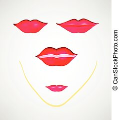 Vector red lips, a gesture isolated on white background.