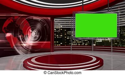 News TV Studio Set -57 - News TV Studio Set 57-Virtual Green...