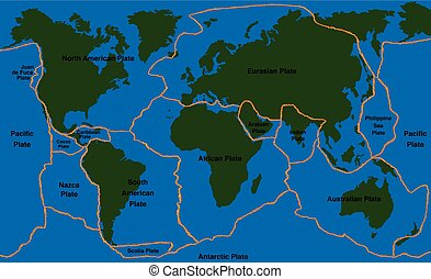 Plate Tectonics World Map Faultline - Plate tectonics -...