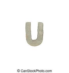 el, U, carta, cemento, textura,