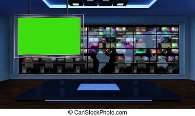 News TV Studio Set -53 - News TV Studio Set 53-Virtual Green...