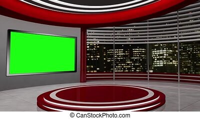 News TV Studio Set -55 - News TV Studio Set 55-Virtual Green...