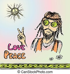 Friendly hippie with long hair making peace sign, vector...