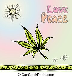 vector illustration cannabis ,peace, love. - vector hand...