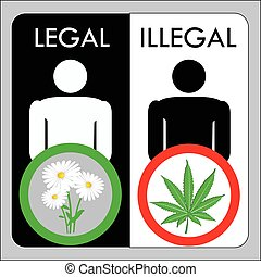 Man illegal marijuana and man with legal flowers, vector...