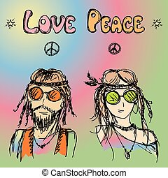 Friendly couple  hippie with long hair , vector illustration
