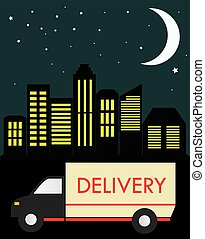 delivery truck on a background of the city at night