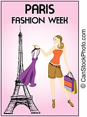 shopping girl in paris, vector illustration. - shopping girl...