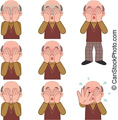 Set of senior man covering the face - Vector...