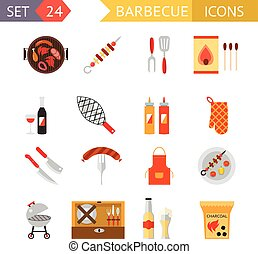 stock vector barbecue restaurant party family dinner summer picnic food symbols icon flat design template illustration
