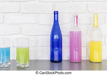 Whats your favourite colour - Shot of glasses and bottles...