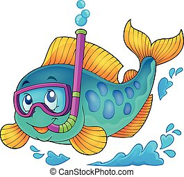 Fish snorkel diver theme image 1 - eps10 vector...