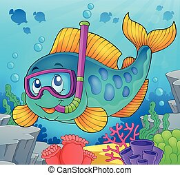 Fish snorkel diver theme image 2 - eps10 vector illustration...