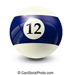 billiard ball 12- realistic vector design