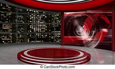 News TV Studio Set -59 - News TV Studio Set 59-Virtual Green...