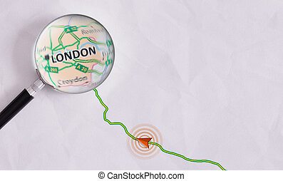 Concept travel route destined for London - Route on sheet of...