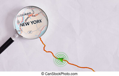 Concept travel route destined for New York - Route on sheet...