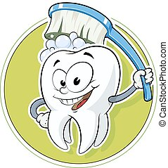 Healthy tooth with dental brush