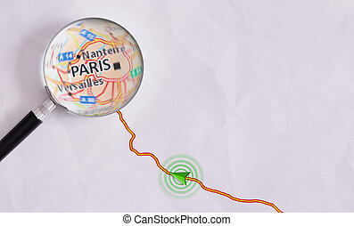 Concept travel route destined for Paris - Route on sheet of...