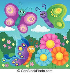 Happy butterflies theme image 4 - eps10 vector illustration