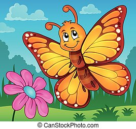 Happy butterfly topic image 2 - eps10 vector illustration