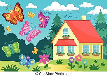 House and happy butterflies - eps10 vector illustration