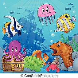 Underwater ocean fauna theme 8 - eps10 vector illustration.