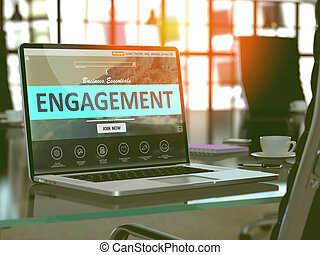 Engagement on Laptop in Modern Workplace Background -...
