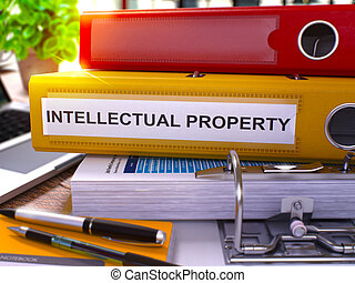 Yellow Office Folder with Inscription Intellectual Property....