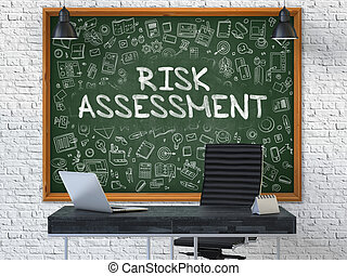 Hand Drawn Risk Assessment on Office Chalkboard - Hand Drawn...