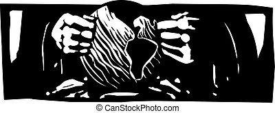Making the World - Woodcut style expressionist image of god...