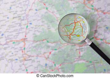 Aumentar, vidrio, el consultar, camino, mapa,
