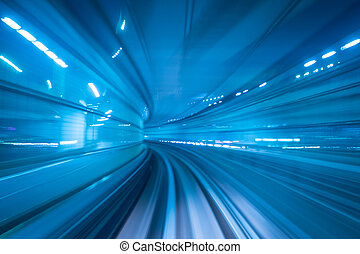 Motion blur of a city - Subway tunnel with Motion blur of a...
