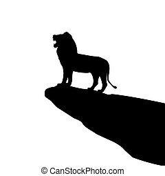 Vector illustration of isolated lion silhouette on the rock....