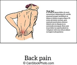 Low back pain in women, black and white sketch - Lumbar pain...