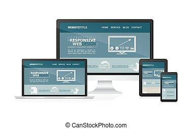 Responsive design and web devices Vector illustration