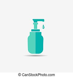 gel washing hand colored flat icon - liquid gel for washing...