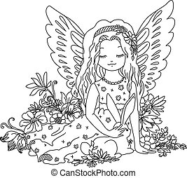 Cute angel with bunny. Coloring book illustration